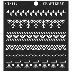 """CrafTreat 6""""x6"""" Stencil - Warli Borders"""