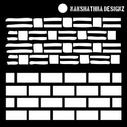 """Nakshathra Designs 6""""x6"""" Stencil - Bricks 2 in 1"""