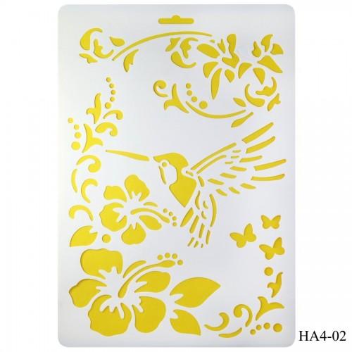 Cake Stencil - Hummingbird (A4)