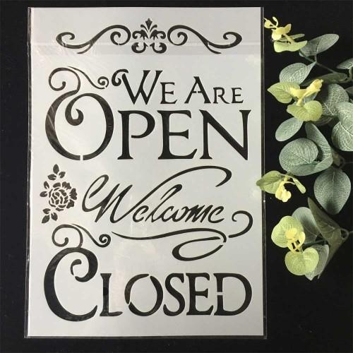Stencil - Open Closed (A4 size)