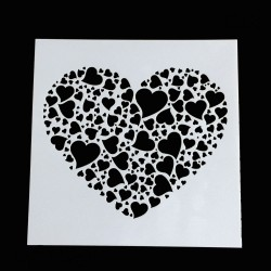Stencil - Hearts (5 by 5 inch)