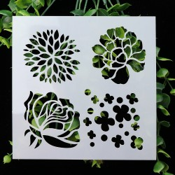 Stencil - Various Flowers (5 by 5 inch)