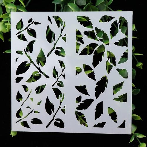 Stencil - Leaves Grid (5 by 5 inch)