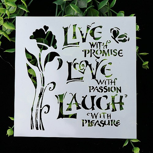 Stencil - Floral with Quotes (5 by 5 inch)