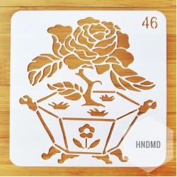 Stencil - Floral Box (5 by 5 inch)