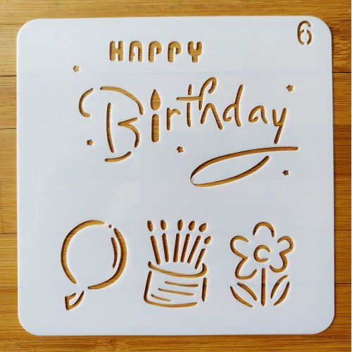 Stencil - Birthday (5 by 5 inch)