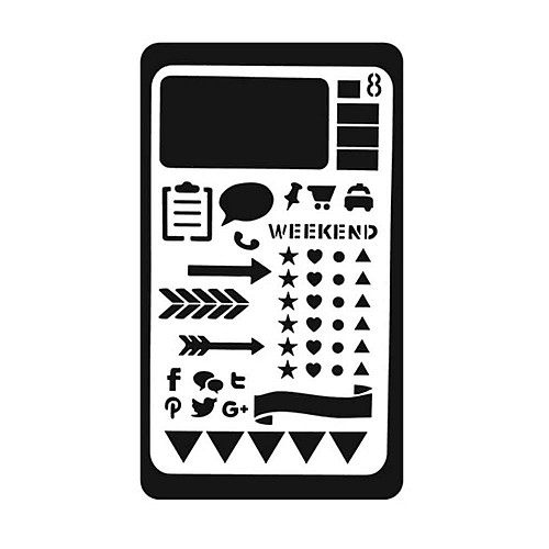 Planner Stencil - Arrows and Shapes (4 by 7 inch)