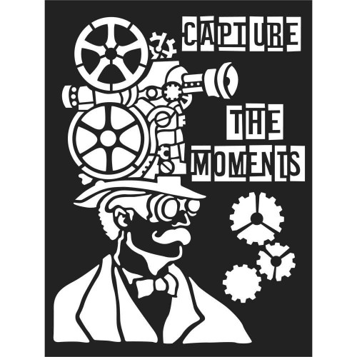 """Stamperia Stencil 5.90""""X7.87"""" - Capture The Moments"""