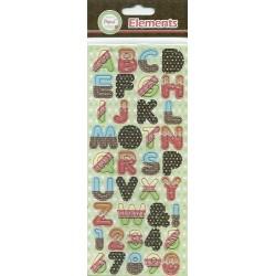 Papus Sticker Elements - Alphabet (Blue, Red & Black)
