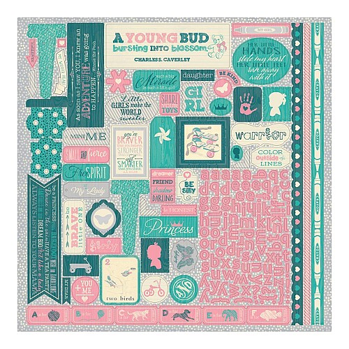Authentique Darling Girl Cardstock Stickers 12X12