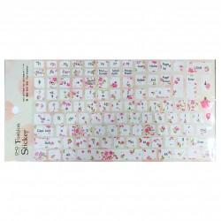 Keyboard Stickers - Pink Flowers