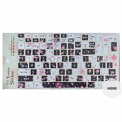 Keyboard Stickers - Pink flowers with Black background