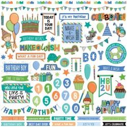 """Photoplay Sticker - Birthday Wishes Boy Stickers 12""""X12"""""""