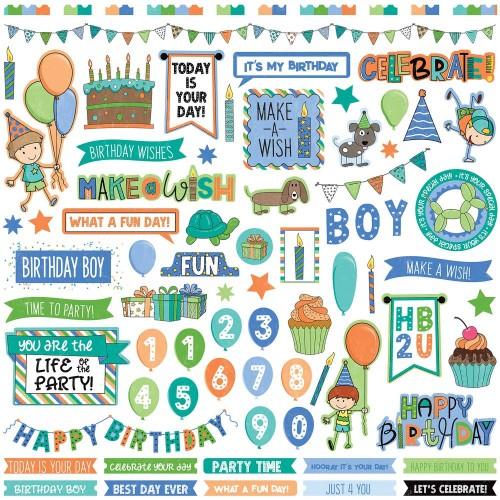 Photoplay Sticker - Birthday Wishes Boy Stickers 12X12