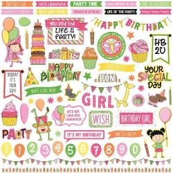 "Photoplay Sticker - Birthday Wishes Girl Stickers 12""X12"""