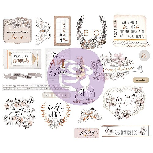 Prima Marketing Pretty Pale Chipboard Stickers 21/Pkg