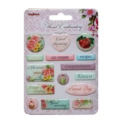 Scrapberrys Epoxy Sticker - Floral Embroidery