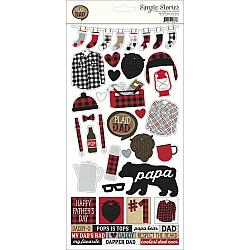 """Simple Stories Plaid Dad Cardstock Stickers 6""""X12"""""""