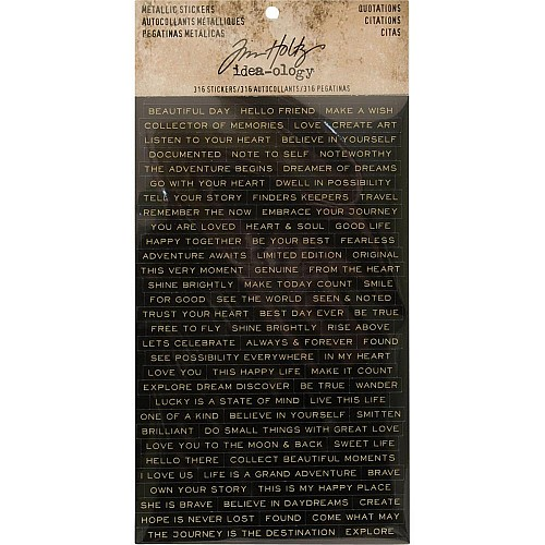 Tim Holtz Idealogy Metallic Stickers - Quotations black with Gold