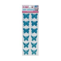 Cubic Art Sticker - Butterflies - Blue