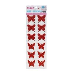 Cubic Art Sticker - Butterflies - Red
