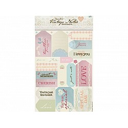 Paper Mania Die Cut Sentiment Stickers - Vintage Notes