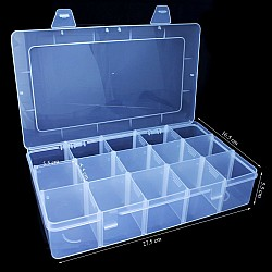 15 compartment plastic storage box with removable compartments