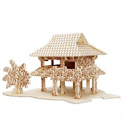 A4 3D wooden puzzle Kit - Bamboo Houses