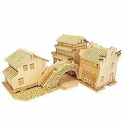 A4 3D wooden puzzle Kit - Water Towns C