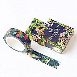 Washi Tape - Tropical Florals with black BG
