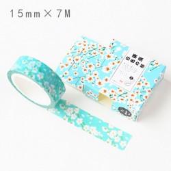 Washi Tape - white flowers with blue BG