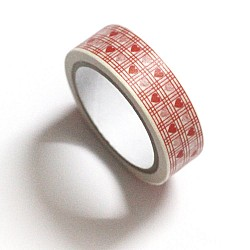 Checkered Hearts -  White and Red - Japanese Washi Tape