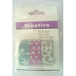 Creative Glittered Washi Tapes (Pack of 3 tapes) - Design 4