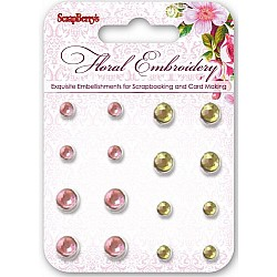 Scrapberrys 16 Rhinestone Brads - Floral Embroidery