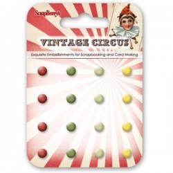Scrapberrys 16 Enamel Brads - Vintage Circus