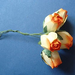 Mulberry Paper Rose Buds (Large) - Cream and Orange