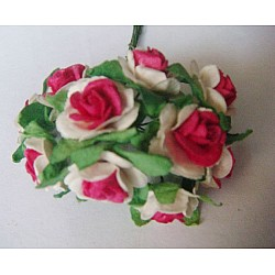 Mulberry Paper Roses - White and Pink (A pack contains 10 roses)