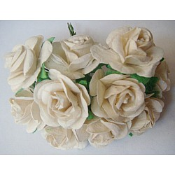 Mulberry Paper Roses (1 inch) - White