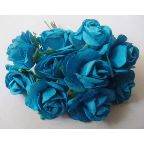 Mulberry Paper Roses (1 inch) - Blue (Pack of 10 flowers)