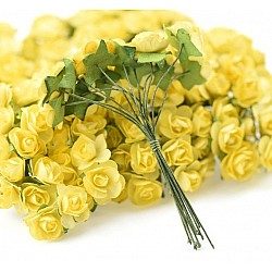 Mulberry Paper Roses - Yellow (Pack of 24 roses)