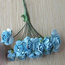 Mulberry Paper Roses - Bright Blue (Pack of 24 roses)