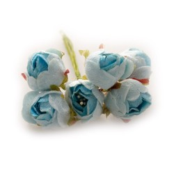 Fabric Roses - Light Blue (Set of 6 roses)