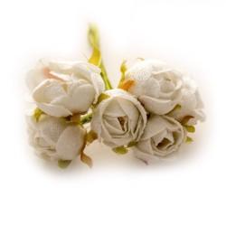 Fabric Roses - Cream (Set of 6 roses)