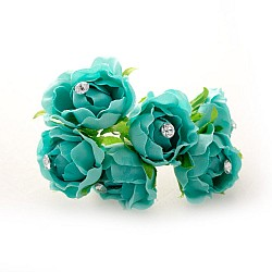 Fabric Flowers - Teal (Set of 6 roses)