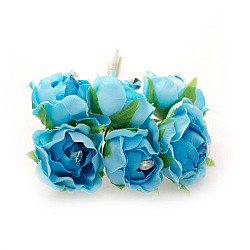 Fabric Flowers - Blue (Set of 6 roses)