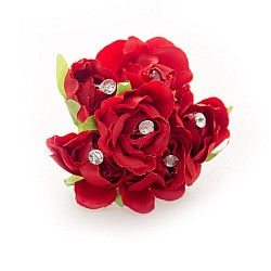 Fabric Flowers - Red (Set of 6 roses)
