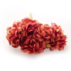Fabric Flowers with pollens - Shimmery Red (Set of 6 roses)