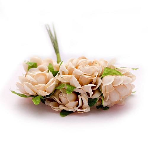 Artifical fabric flowers - Light Brown (Pack of 12 flowers)