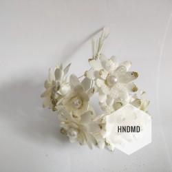 Fabric Glitter Flowers - Cream (Pack of 12)