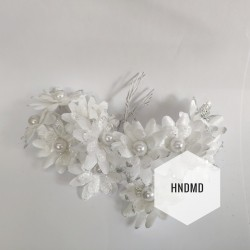 Fabric Glitter Flowers - White (Pack of 12)